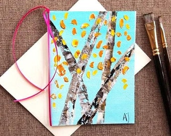 Birch art Aspen painting Original oil painting Aspen tree art Aspen Colorado art Hand painted greeting card Blank card Hand made card Birch