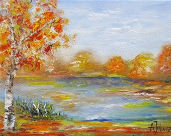 """Small painting landscape Tree painting Tree art  Autumn painting Landscape art Autumn leaves Nature art Oil painting by Alina Jelvez 6x8"""""""