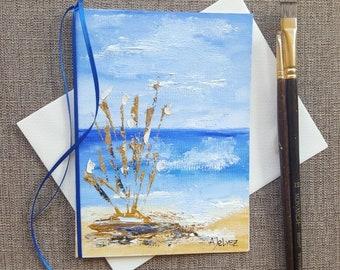 Nautical art Nautical painting Original painting Card for wife Beach art Oil painting original Birthday card Hand painted greeting card Art