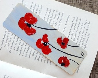 Flower art Planner marker Original oil painting Book markers Thinking of you gift Hand painted bookmark Handmade bookmark Flower painting