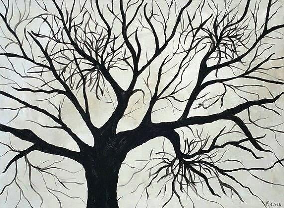 Tree Of Life Painting Original Oil Painting Black And White Painting Tree Of Life Wall Art Abstract Painting Abstract Tree Painting 18x24