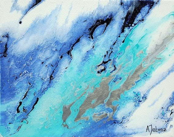 Acrylic Abstract Art Blue Abstract Painting Fluid Acrylic Art Art For Boys Room Office Art Dorm Room Art Blue Art Abstract Canvas Art 8x10