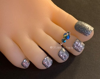 Beaded Toe Ring ANDREA Gorgeous Solitaire Toe Ring Stretch Elastic Toe Ring,Toe Rings Bride Big Toe Ring