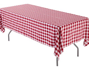 60 X 126 Inch Rectangular Red And White Checkered Tablecloth Polyester |  Wedding Tablecloth