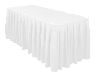 d9fa3d1deaf7 14 ft. Accordion Pleat Polyester Table Skirt White