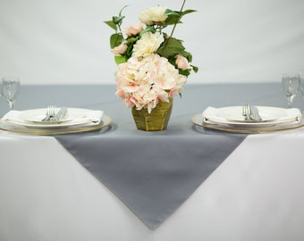 54 Inch Square Gray Tablecloth Polyester   Wedding Table Overlay