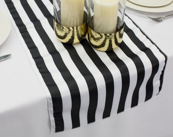 Black U0026 White Stripe Lu0027Amour Satin Table Runner | Wedding Table Runner