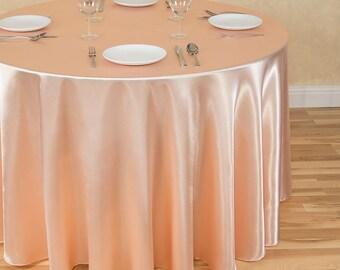 108 Inch Round Peach Tablecloth Satin | Wedding Tablecloth