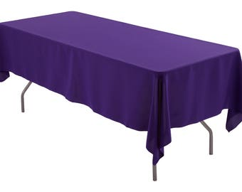 """60"""" x 102"""" Rectangle Purple Tablecloth Polyester   Wedding Tablecloth"""