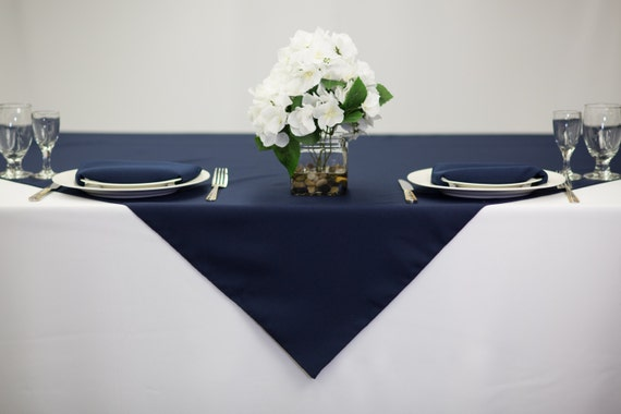 54 Inch Square Navy Blue Tablecloth Polyester Wedding Table   Etsy