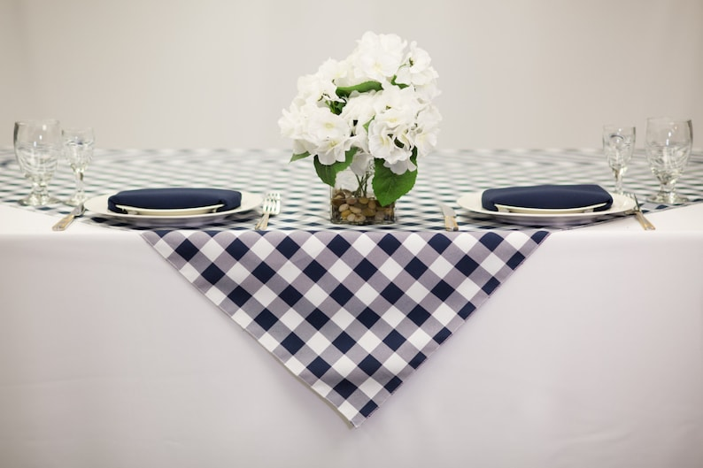 54 Inch Square Blue And White Checkered Gingham Polyester | Wedding Table  Overlay