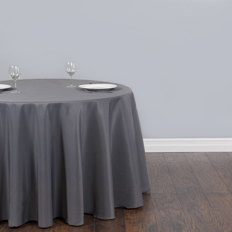 Ordinaire 120 Inch Round Charcoal Gray Tablecloth Polyester Wedding | Etsy