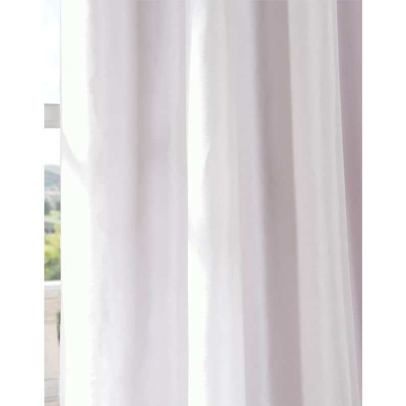 Home Drapery White Faux Silk Curtain Panel Two Panel