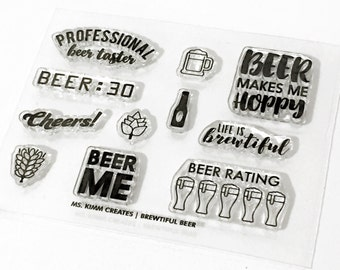 """Ms. Kimm Creates BREWTIFUL Beer Theme 3""""X4 Photopolymer Clear Stamp Set - Beer, Planner, Bullet Journal, Project Life, Scrapbooking,"""
