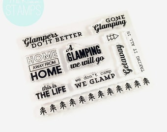 """Retiring - Ms. Kimm Creates GONE GLAMPING 3""""x4"""" Photopolymer Clear CAMPING Stamps - Project Life, Planner, Bullet Journal - Retiring"""