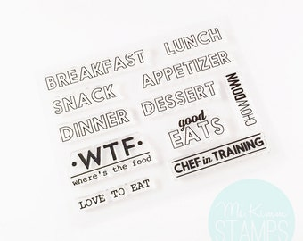 """Retirement Sale - Ms. Kimm Creates GOOD EATS 3""""x4"""" Photopolymer Clear Stamp Set - Project Life, Bullet Journal, Planner, Stamping - Retiring"""