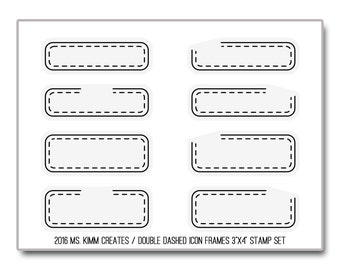 """Ms. Kimm Creates Double DASH ICON FRAMES 3""""X4 Photopolymer Clear Stamp Set - Journal, Planner, Icons, Borders"""