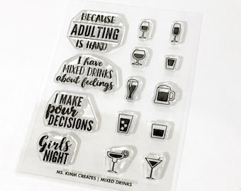"""Ms. Kimm Creates MIXED DRINKS Girls Night 3""""X4 Photopolymer Clear Stamp Set -  Planner, Bullet Journal, Project Life, Scrapbooking,"""
