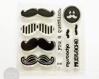"""CLEARANCE SALE:  Ms. Kimm Creates MUSTACHE 3""""x3"""" Photopolymer Clear Stamp Set"""