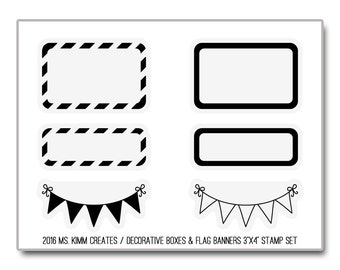 """Ms. Kimm Creates Decorative Boxes & Flag Banners 3""""X4 Photopolymer Clear Stamp Set - Journal, Planner, Icons, Borders, Banner, Flag"""
