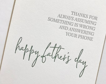 Father's Day Card Funny Father's Day Card Letterpress Father's Day Card