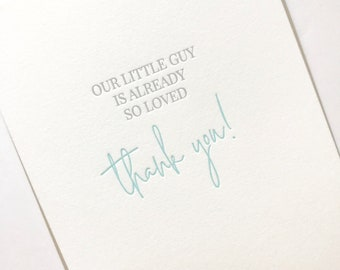 baby shower thank you card letterpress baby shower thank you baby boy shower thank you new baby thank you new baby boy thanks