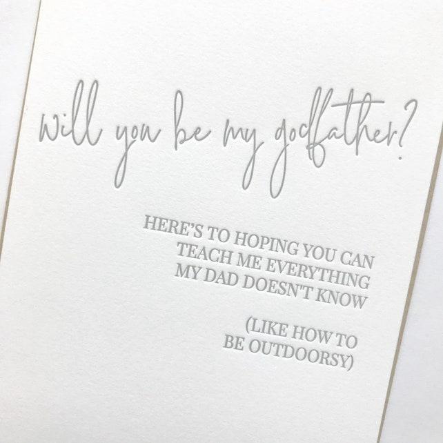 Godfather Card, Will you be my godfather?, Child Godfather card, Funny Godfather Card, Godfather humor