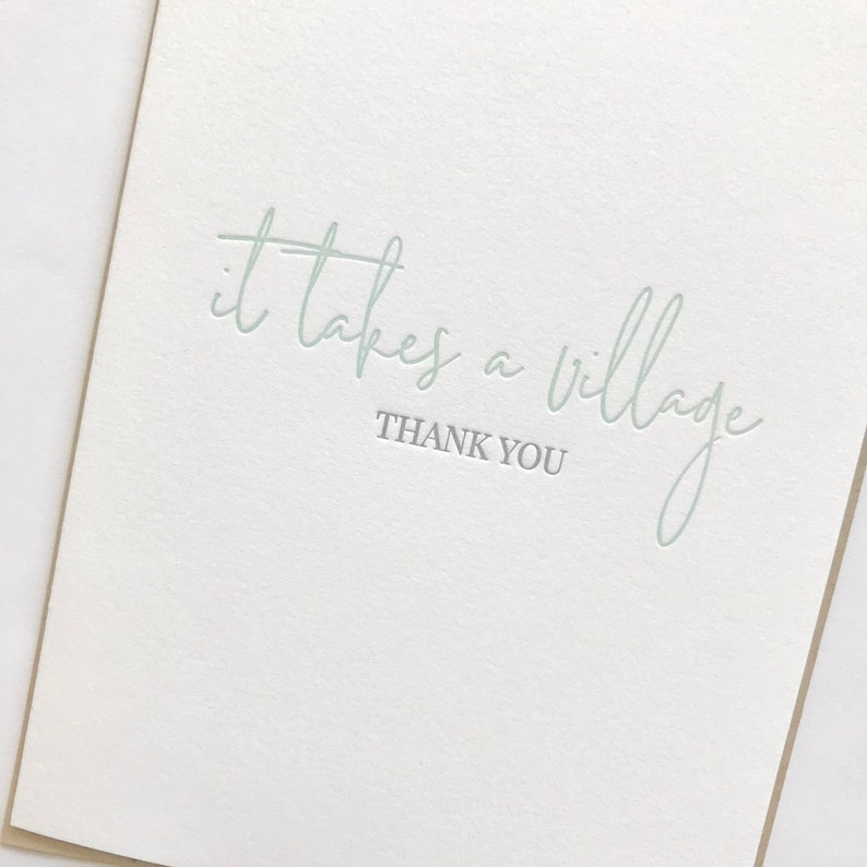 parent thank you card It takes a village nanny thank you card daycare thank you card letterpress card thank you card
