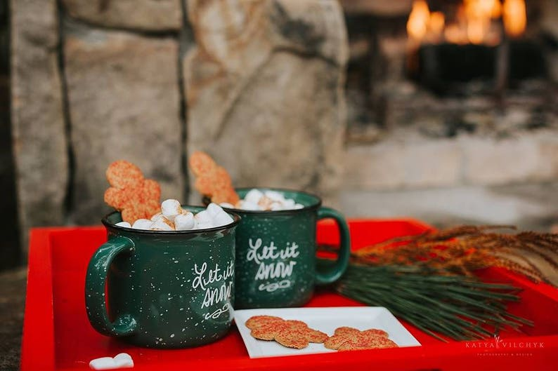 Campfire Mug Coffee Mug Coffee Gift  Let it Snow Holiday Decor image 0