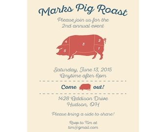 BBQ Invitation - Pig Roast Invitation