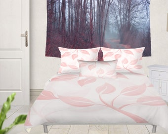 Duvet Cover or Comforter - Different sizes, No Insert, Bedroom, Home decor, Pink, White, Leaves, Floral, Spring, With, Without Shams, Nature