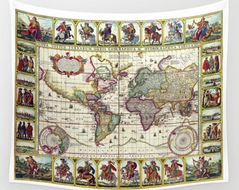 World map tapestry etsy wall tapestry ancient map 1652 claes janszoon home decor wall warming gift bohemian boho ancient old vintage world colorful gumiabroncs Images