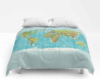 World map comforter etsy duvet cover or comforter topographic world map boho hippie sham gift christmas abstract kids 3d blue map colorful detailed gumiabroncs Image collections