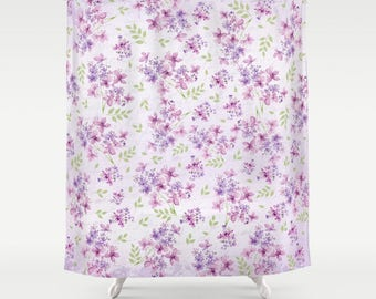 Little Purple Flowers Shower Curtain 71x74 Pattern Floral Bath Dorm Girl Lilac Christmas Decor Rustic Pink Gift Abstract