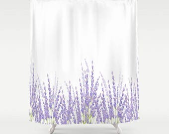 Blooming Lavender Shower Curtain 71Wx74 Pattern Floral Bath Dorm Girl White Christmas Decor Rustic Sage Gift Abstract