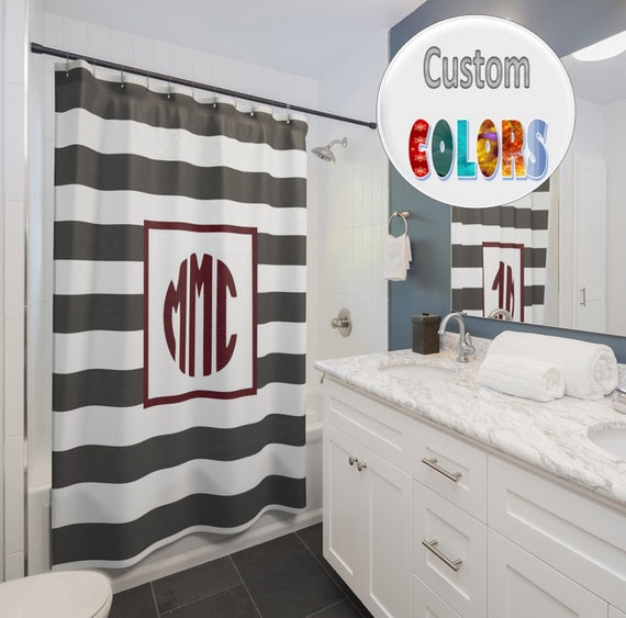 Custom Monogrammed Shower Curtain 71 By 74