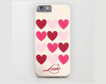 Pink Hearts Device case for iPhone / iPhone 7 / 7s, iPhone 6 /6s, Samsung, Galaxy, Custom, Pink, Hearts, Love, Name, Gift