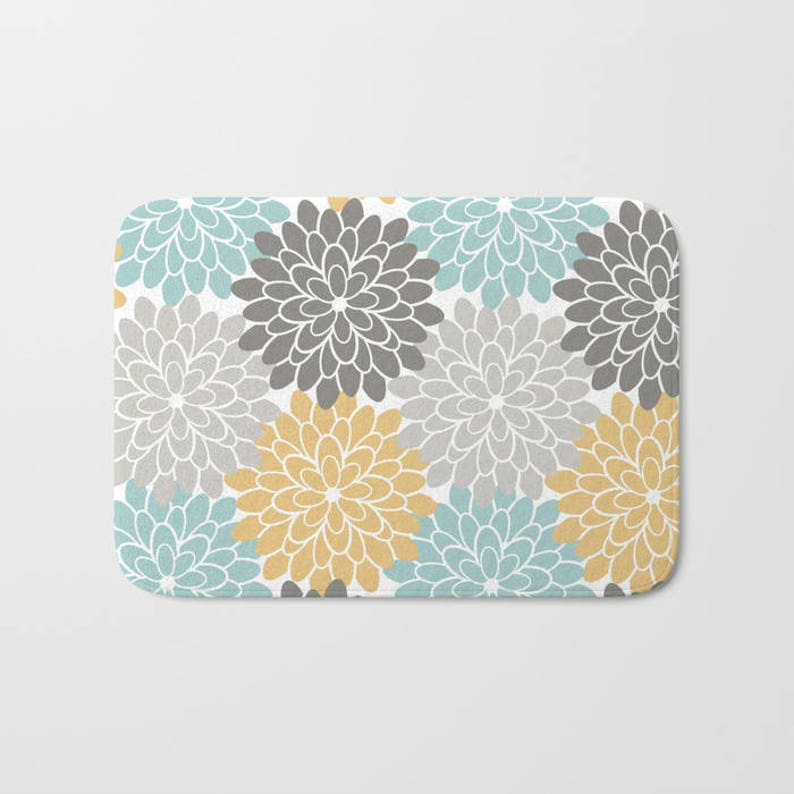 Boho Christmas Orange and Grey Bath Mat Abstract Country Girl Gift Accent Rustic Flowers Romantic Zen Pastel Blue Hippie Dorm