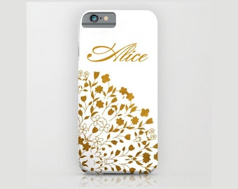 Device case for iPhone / Samsung Galaxy, iPhone 7 /7s, iPhone 6 /6s, Samsung, Galaxy, Phone, Metallic, Golden, Name, Custom, Golden, White