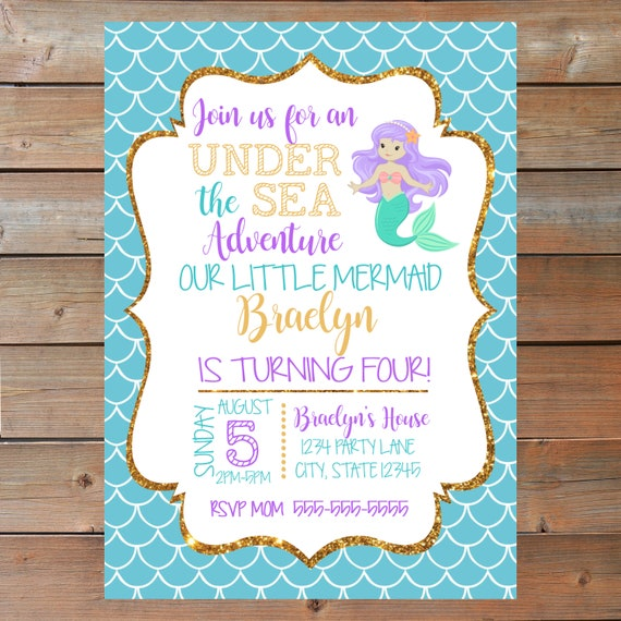 Mermaid Birthday Invitation Personalized And Printable