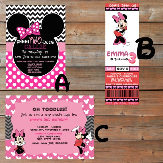 Minnie Mouse Themed Birthday Invitations Personalized And