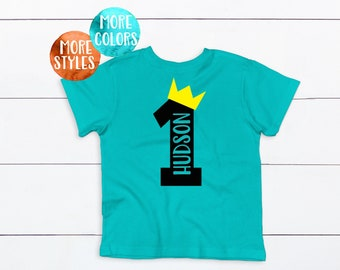 Custom ONE CROWN Boys 1st Birthday Shirt One Crown Toddler T First Tee