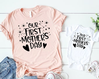 a19f6ec8a97 Our First Mothers Day Sparkles Mommy and Baby Mothers Day Set Mothers Day  Shirt Matching Mothers Day Set Mother Day Mommy and Me Outfits