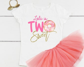 Personalized Two Sweet Donut 2nd Birthday Outfit Shirt With Pink Peach Tutu Skirt Set