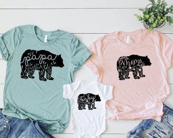 e11fa98b Floral Bear Family Matching Shirts Matching Mommy and Me Shirts Girl Mommy  and Me Outfits Matching Family Shirts Boho Bears Mama Bear Shirt