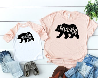 4facc38b Mama Bear, Baby Bear Matching Mommy and Me Shirt Mom and Baby Matching  Outfits Mom and Baby Shirt Matching Mama Bear Baby Bear Matching