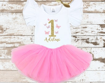 Personalized First Birthday Butterfly  Flutter Sleeve Bodysuit | Butterfly Birthday Outfit| Flutter Sleeve Leotard