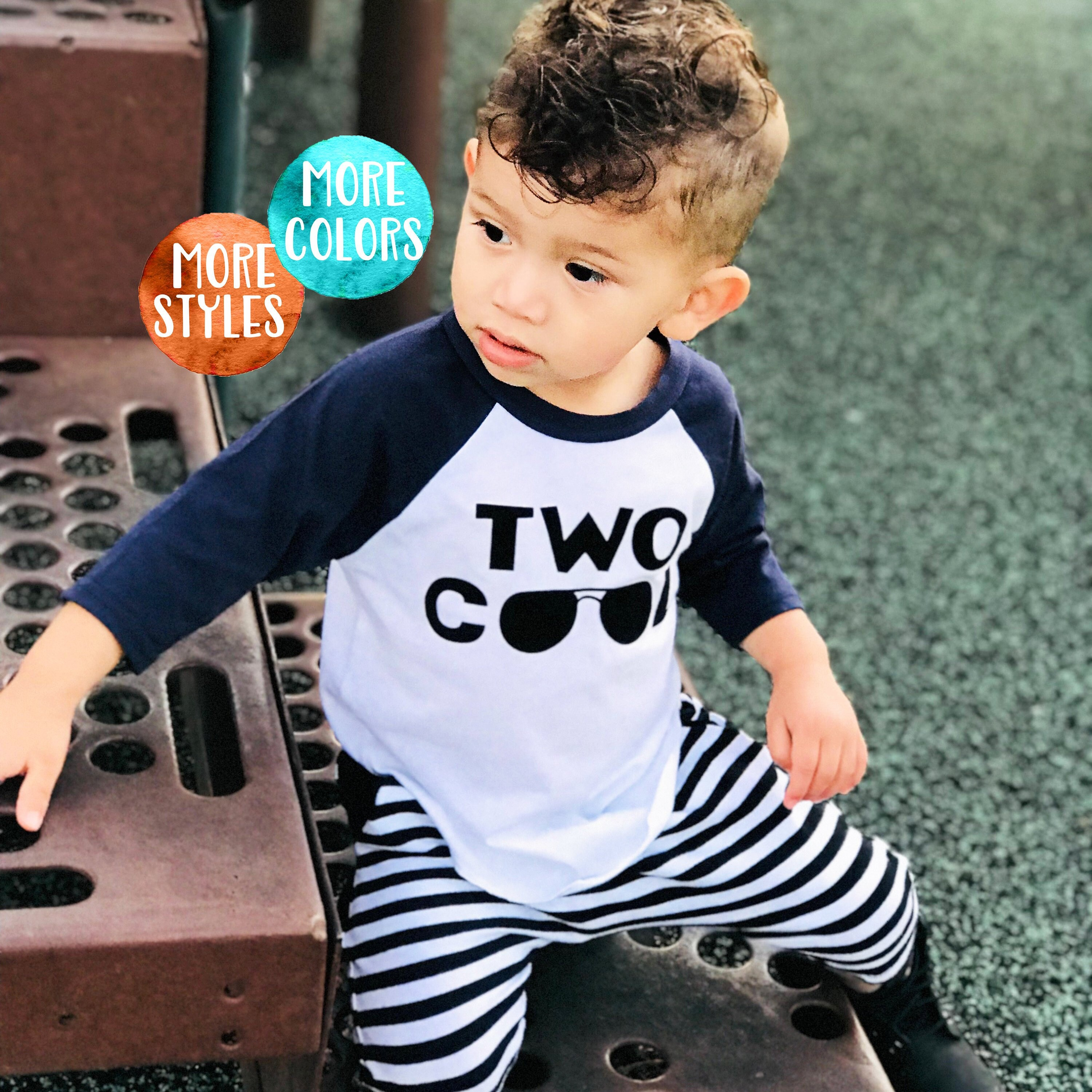 Boys 2nd Birthday Shirt TWO Cool 3 4 Raglan Toddler