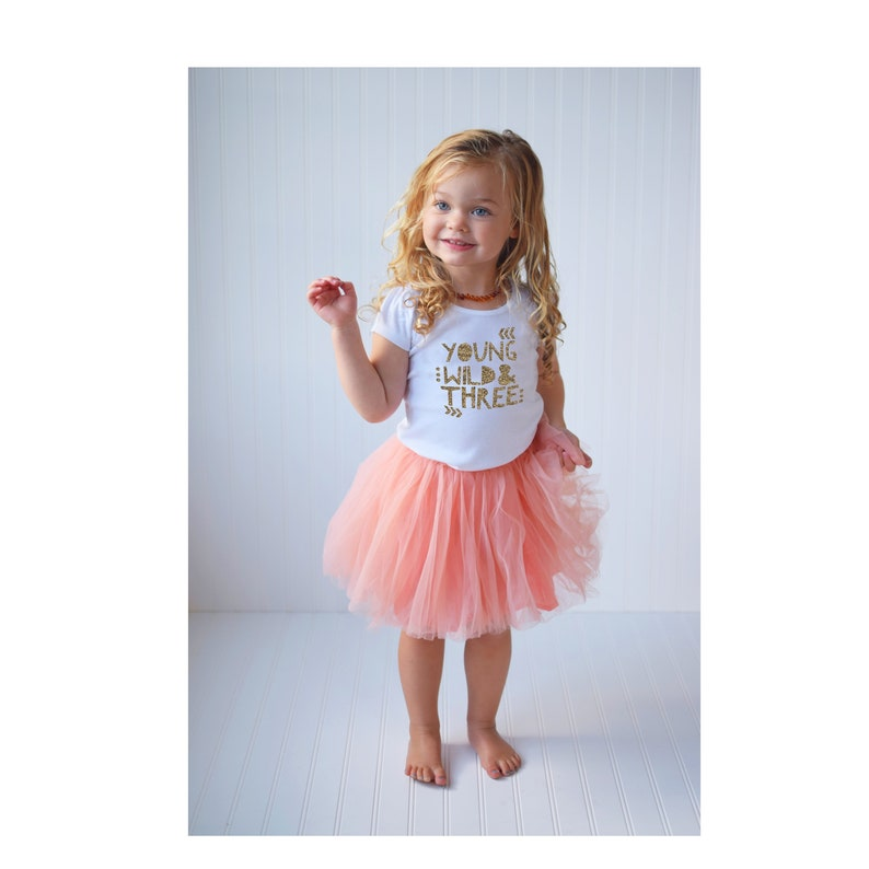 114f3fe1393e Young Wild and THREE Girls 3rd Birthday Outfit White Puff   Etsy