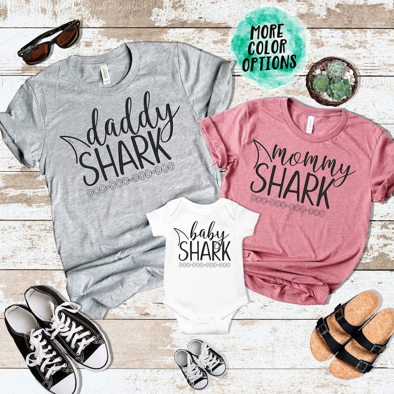 468f487e Mommy Daddy Baby Shark DO DO DO Matching Shirts Matching Mommy | Etsy